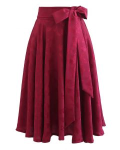 Jacquard Butterfly Bowknot Flare Midi Skirt in Red