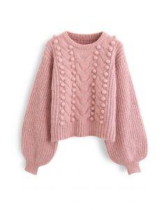 Fuzzy Pom-Pom Ribbed Mix-Knit Sweater in Pink