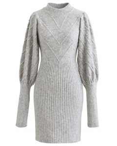 Embossed Mix-Knit Bubble Sleeve Shift Dress in Grey