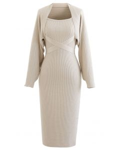Halter Neck Bodycon Knit Dress with Sleeve Sweater in Sand