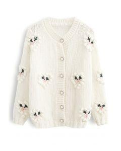 Pom-Pom Heart Stitched Flower Hand-Knit Cardigan