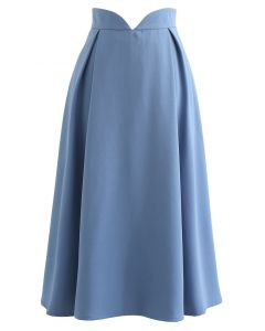 V-Shape Cutout Shimmery Pleated Skirt in Blue