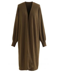 Rib Knitted Open Front Longline Knit Cardigan in Brown