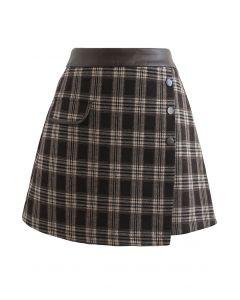 PU Leather Waist Plaid Wool-Blend Mini Skirt