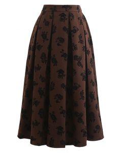 Posy Print Pleated Midi Skirt in Brown