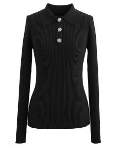 Brooch Button Collared Fitted Knit Top in Black