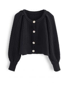 Braid Knit Button Down Crop Cardigan in Black