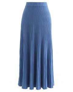 Side Vent High Waist Knit Skirt in Blue