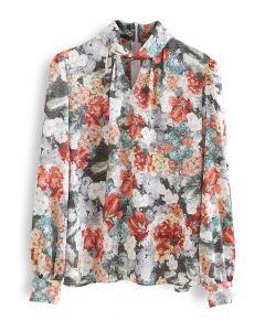 Flower Field Watercolor Printed Twist Shirt