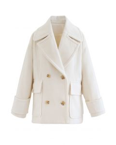 Mild Wool-Blend Double-Breasted Coat in Ivory