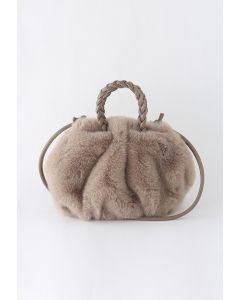 Braided Faux Fur Crossbody Bag in Taupe