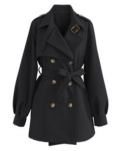 Original Double-Breasted Belted Coat in Black