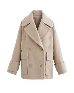 Mild Wool-Blend Double-Breasted Coat in Sand