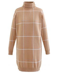 Warm Welcome Grid Turtleneck Sweater Dress in Tan