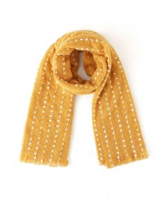 Dotted Fringed Fluffy Scarf in Mustard