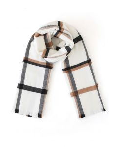 Oversized Grid Printed Scarf