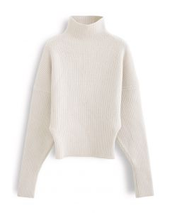 Batwing Sleeves Turtleneck Rib Knit Sweater in Cream