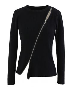 Zipper Up Ribbed Knit Top in Black