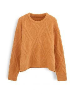 Crisscross Pattern Fuzzy Knit Sweater in Orange