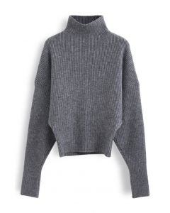 Batwing Sleeves Turtleneck Rib Knit Sweater in Grey