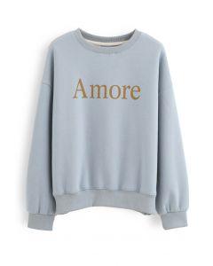 Amore Printed Fleece Sweatshirt in Blue