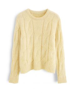 Fuzzy Crew Neck Cable Knit Sweater in Yellow