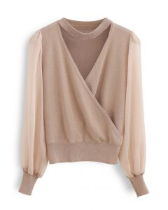 Sheer Sleeves Wrapped Knit Top in Dusty Pink