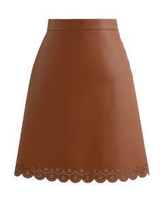 Faux Leather Cutwork Mini Skirt in Caramel