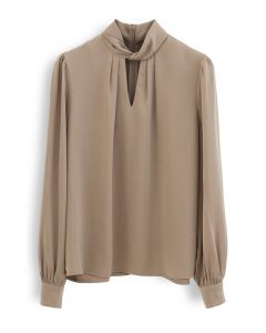 Twist Cutout Neck Satin Top in Tan