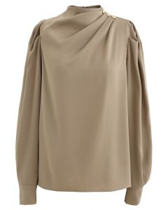 Buttoned Ruched Neck Satin Top in Tan