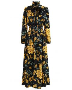 Floral Print Cutout Tied Neck Maxi Dress