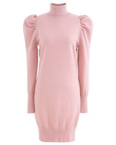 Bubble Shoulder Turtleneck Sweater Dress in Pink