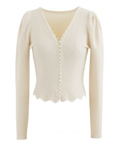 Pearls V-Neck Fitted Knit Top in Cream