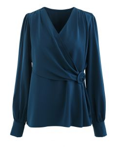 O-Ring Flap Satin Top in Indigo