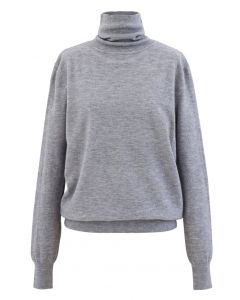 Turtleneck Soft Touch Ribbed Knit Sweater in Grey
