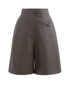 Faux Leather Bermuda Shorts in Brown