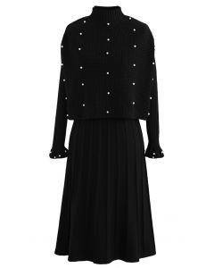 Pearl Trim Pleated Knit Twinset Dress in Black