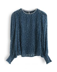 Floret Velvet Pearl Neck Smock Top in Indigo