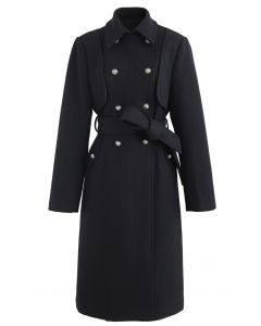 Black Double-Breasted Wool-Blend Longline Coat