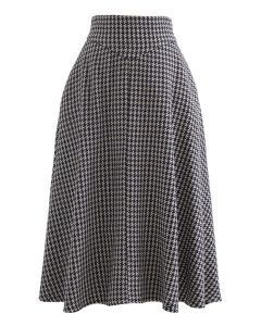 Tweed Textured A-Line Midi Skirt