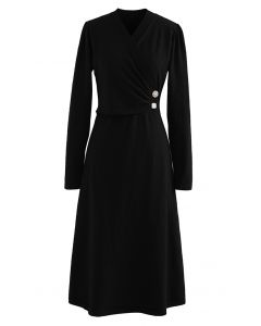 Pearl Button Wrap Knit Midi Dress in Black
