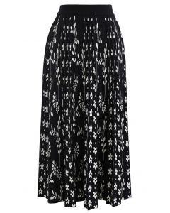 Floret Pleated Knit Midi Skirt in Black