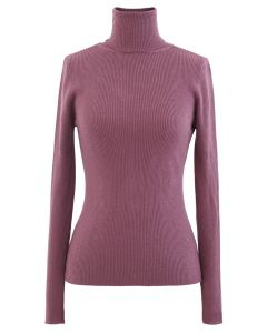 Turtleneck Ribbed Fitted Knit Top in Berry