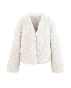 Open Front Fluffy Faux Fur Crop Jacket in Ivory