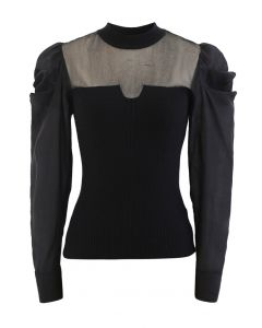 Organza Spliced Puff Sleeves Knit Top in Black