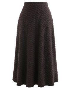 Embossed Mesh Flare Midi Skirt in Brown