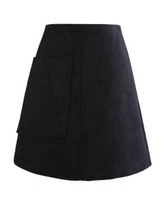 Patched Pocket Shimmer Tweed Mini Skirt in Black