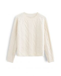 Braid Texture Cropped Knit Sweater in Ivory