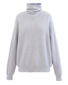 Basic Turtleneck Ribbed Knit Sweater in Baby Blue