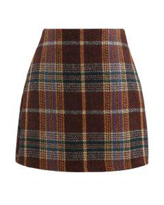 Classic Plaid Wool-Blend Mini Skirt in Caramel